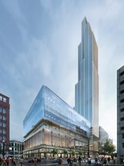 Rendering of the planned skyscraper on the Hudson's downtown Detroit site, still under construction.