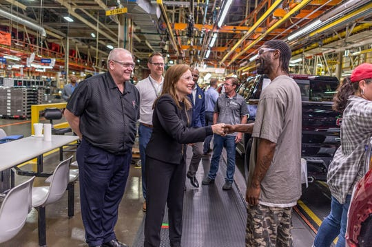 General Motors Chairman and CEO Mary Barra meets with plant employees at the GM Fort Wayne Assembly plant on Thursday, May 30, 2019.