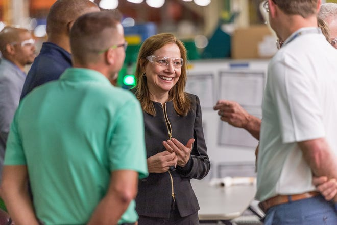 General Motors Chairman and CEO Mary Barra meets with plant employees at the GM Fort Wayne Assembly plant on Thursday, May 30, 2019 before announcing the company is  investing $24 million in the plant to expand production of full size Chevrolet Silverado 1500 and GMC Sierra 1500 pickups in Roanoke, Indiana.