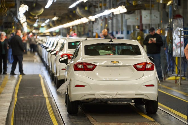 Final Chevrolet Cruze in LS trim rolls of the line at GM Lordstown Assembly Plant in Warren, Ohio on Wednesday, March 6, 2019.
