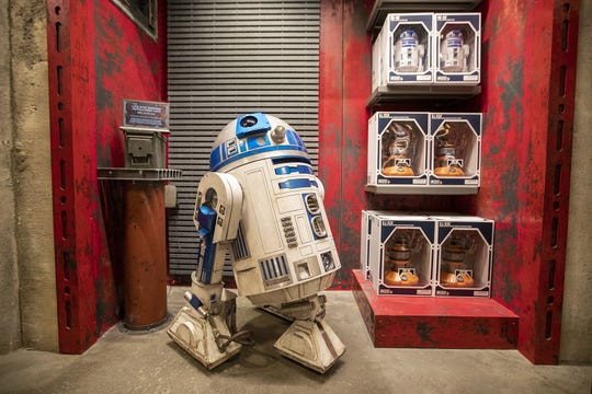 A view of merchandise for sale at the Droid Depot as media members get a preview during the Star Wars: Galaxy's Edge Media Preview event at the Disneyland Resort in Anaheim, Calif., on May 29, 2019. (Allen J. Schaben/Los Angeles Times/TNS)