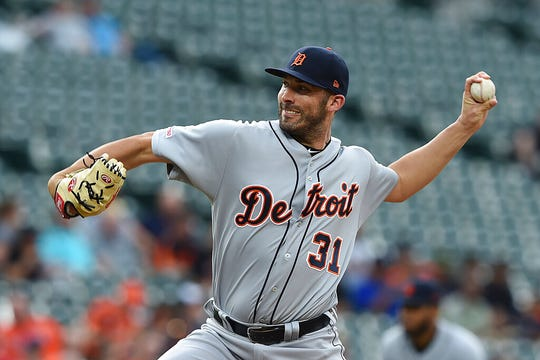 Detroit Tigers pitcher Ryan Carpenter throws to a Baltimore Orioles batter during the first inning of a baseball game Wednesday, May 29, 2019, in Baltimore.