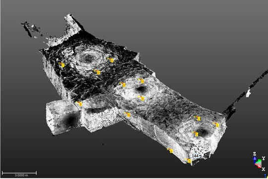 This undated computer image provided by the French National Institute for Preventive Archeological Research (INRAP) shows laser scanners mapping the quarry where refugees found safety in the outskirts of Caen. The extreme precision of laser mapping is allowing programmers to computer-generate 3-D visualizations of the underground space and its abandoned objects, preserving the history.