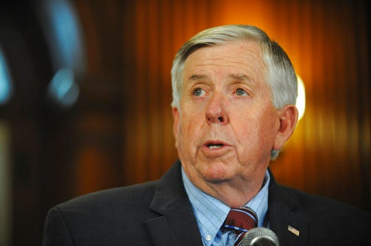 Gov. Mike Parson addresses the media during a press conference in his Jefferson City, MO, Capitol office Wednesday, May 29, 2019, regarding the state of operations of a Planned Parenthood facility in St. Louis. The clinic has two days to remedy the issues found or face non-renewal of their operating license.