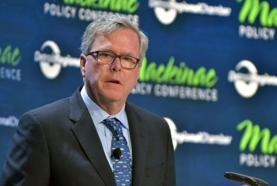 Former Florida Gov. Jeb Bush speaks about his state's successful educational programs at the annual Detroit Regional Chamber of Commerce's Mackinac Policy Conference Thursday, May 30, 2019 at Mackinac Island's Grand Hotel.