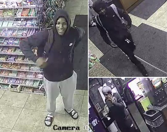 Detroit Police are looking for these suspects in connection with a May 7 robbery of a gas station on Mack Avenue.
