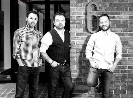 From left,  6 Salon owners, Tomy Lulgjuraj, George and Johnny Nikollaj Photo courtesy of 6 Salon