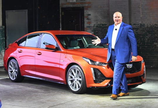 Ken Morris, VP Global Product reveals the new Cadillac CT4-V and CT5-V in Detroit on May 30, 2019.