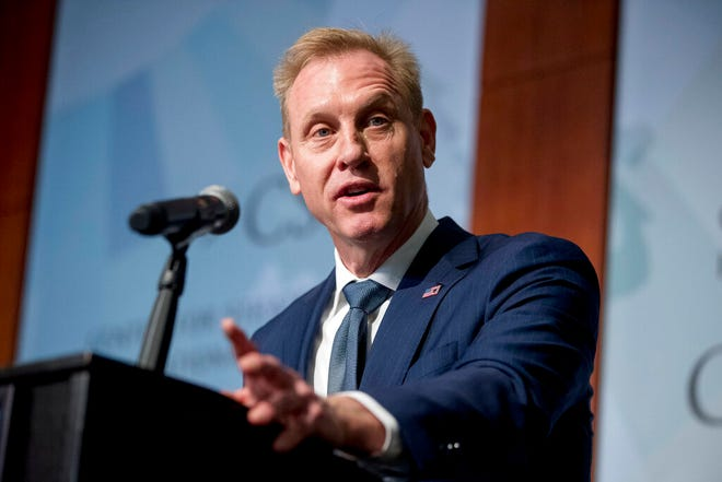 In this March 20, 2019 file photo, Acting Defense Secretary Patrick Shanahan speaks at the Center for Strategic and International Studies in Washington. Shanahan arrived Wednesday in Asia on a high-profile weeklong trip that is intended to reinforce that China is the administration's main foreign policy priority.