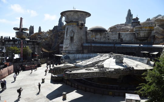 A replica of the Millennium Falcon is pictured during the Star Wars: Galaxy's Edge Media Preview at Disneyland Park.