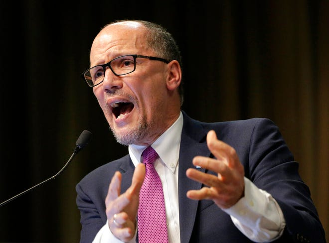 In this April 3, 2019, photo, Tom Perez, chairman of the Democratic National Committee, speaks during the National Action Network Convention in New York. The Democratic National Committee is upping the ante for its second round of presidential primary debates, doubling the polling and grassroots fundraising requirements from its initial summer debates.