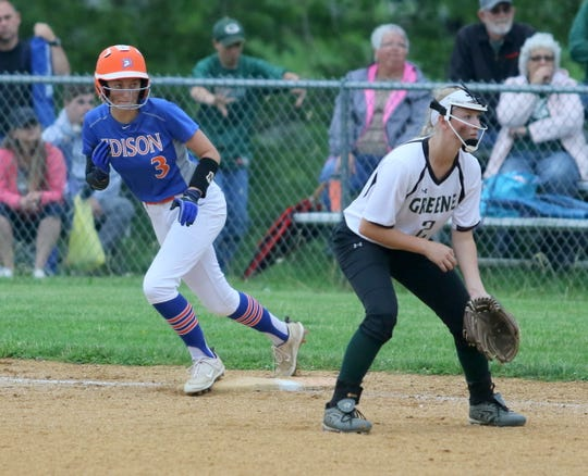 Thomas A. Edison's Alyssa Steinhauer gets set to take off from first base in front of Greene's Payton Yahner in a Section 4 Class C softball semifinal May 30, 2019 in Elmira Heights.