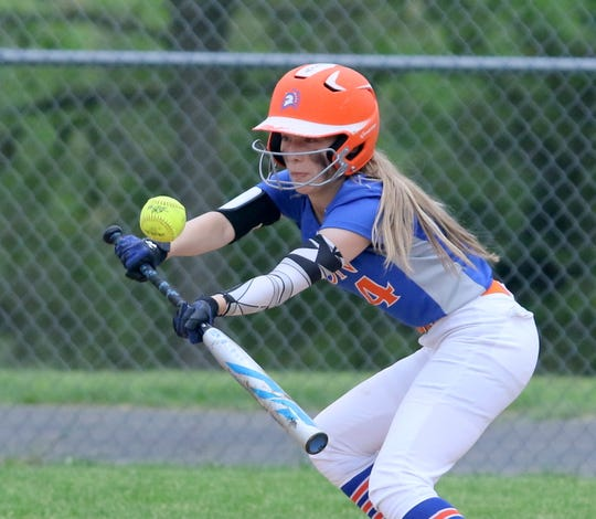 Jodie Burdick of Thomas A. Edison bunts the ball against Greene in a Section 4 Class C softball semifinal May 30, 2019 in Elmira Heights.