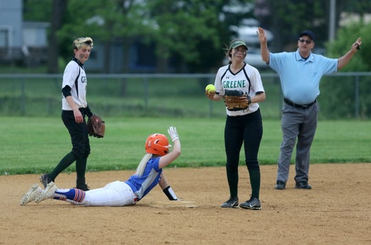 Mallory Mowchan of Thomas A. Edison calls timeout after sliding into second base against Greene in a Section 4 Class C softball semifinal May 30, 2019 in Elmira Heights. Also pictured are Greene's Kiley Ferris, left, and McKenna Sergi.