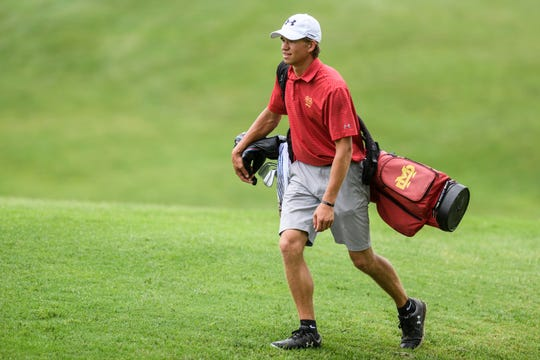 Mater Dei's Isaac Rohleder walks to the 18th hole green during the IHSAA boys golf sectional at Helfrich Hills Golf Course in Evansville, Ind., Thursday, May 30, 2019.