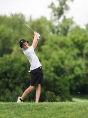North's Mitchell Johnson tees-off at the 15th hole during the IHSAA boys golf sectional at Helfrich Hills Golf Course in Evansville, Ind., Thursday, May 30, 2019. The Huskies won their fourth sectional championship in a row with a score of 291.
