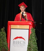 Austin Michael delivers his valedictory speech to the Class of 2019.
