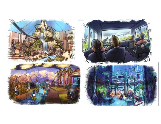 Artist sketches of Martin Lind's new concept for the Great Colorado Experience at The Brands adjacent to the Larimer County Fairgrounds.