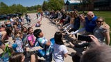 Poudre School District's Werner Elementary teachers kick off summer vacation by doing the Can Can dance as students and parents look on.