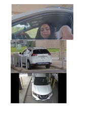 A video surveillance camera caught these images of a woman suspected of  cashing a stolen check.
