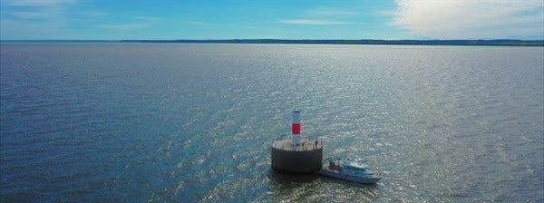 An aquatic monitoring station in Green Bay helps NEW Water monitor water quality as it looks to assess and track conditions in the bay. NASA has mounted another piece of equipment to one such monitoring stations to improve water color data satellites collect.