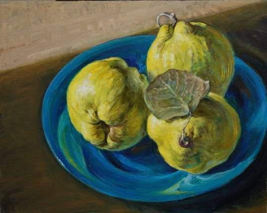 "Works by Alicia Czechowski like this painting, titled ""Three Quinces in a Dish,"" are now on display as part of the Miller Art Museum's newest exhibition."