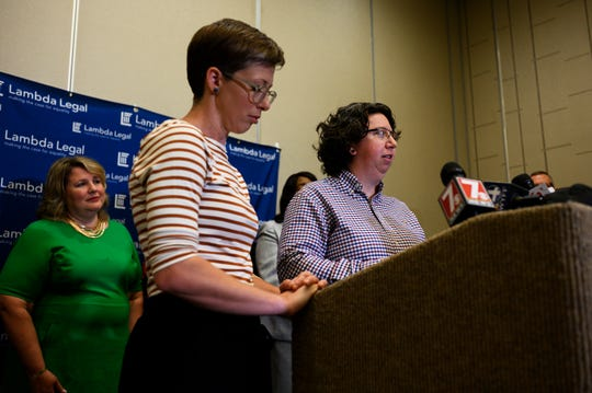 Brandy Welch and her wife Eden Rogers speak during a press conference at Hyatt Regency Greenville Thursday, May 30, 2019. The Greenville couple are suing the U.S. Department of Health and Human Services and the state of South Carolina after their application for fostering children was denied by Miracle Hill based on the agency's religious criteria.