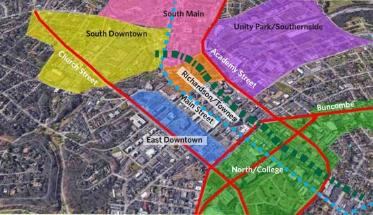 Proposed zones to plan for development in downtown Greenville