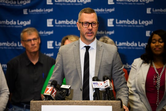 Currey Cook of Lambda Legal speaks during a press conference about a lawsuit against HHS and the state of South Carolina for discriminating against same-sex foster parents at Hyatt Regency Greenville Thursday, May 30, 2019.