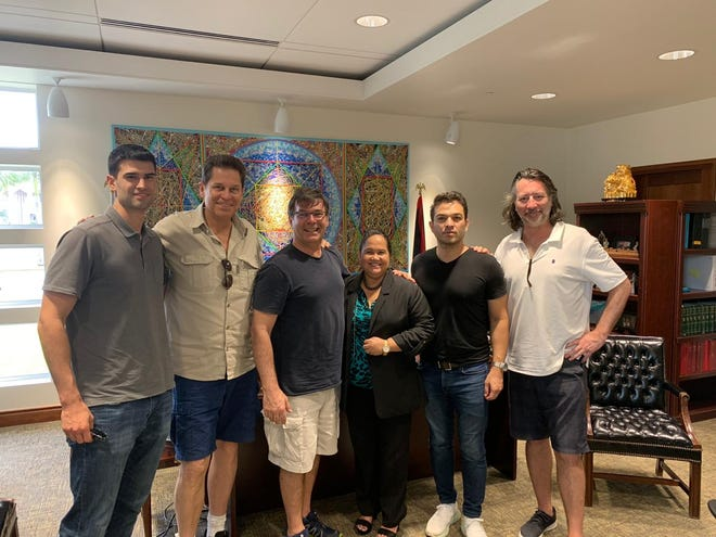 """Speaker Tina Muna Barnes met with the director of """"Operation Christmas Drop"""" in early 2019. The Netflix movie will begin filming on Guam in June 2019, with a release date scheduled for 2020."""
