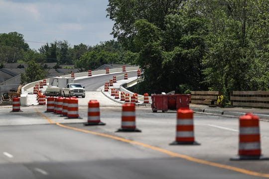 A new ramp onto southbound Keystone Parkway is seen mid-construction at Lowes Way and 146th Street in Carmel, Ind., on Thursday, May 30, 2019. Lowes Way Connection phase 1 is expected to be finished by June 28, 2019.