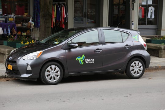 A driver parked an Ithaca Carshare car on Cayuga Street.