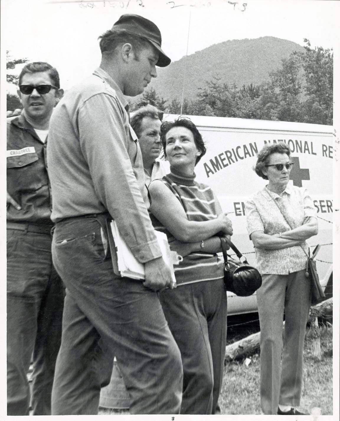 Mrs. William Martin waits for a helicopter to take her to Spence Field during the search for her son, Dennis Martin, 6, on June 23, 1969 in the Great Smoky Mountains National Park. (KNOXVILLE NEWS SENTINEL ARCHIVE)