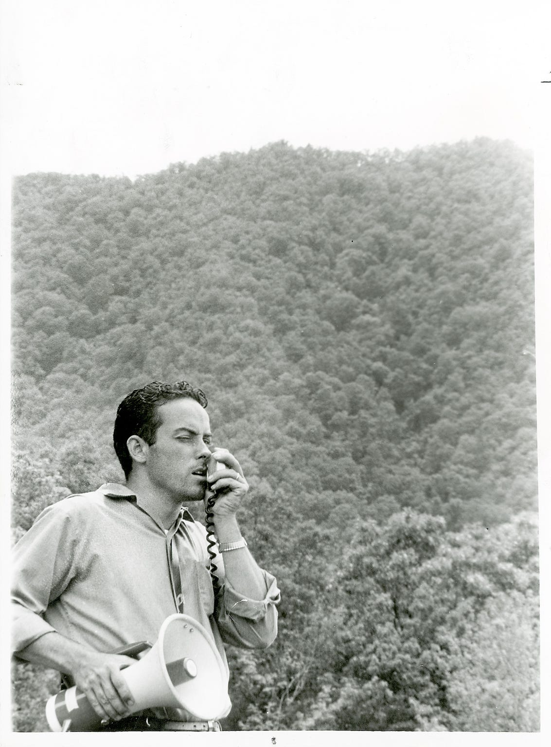 Bill Martin talks through a bull horn in the Dry Valley area of Blount County in the search for his son, Dennis Martin, 6, on June 24, 1969 just outside the Great Smoky Mountains National Park. The boy became separated from family members on Spence Field on June 14. (KNOXVILLE NEWS SENTINEL ARCHIVE)