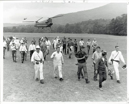 Searchers return to Cades Cove after a day of looking for Dennis Martin, 6, on June 23, 1969 in the Great Smoky Mountains National Park. (KNOXVILLE NEWS SENTINEL ARCHIVE)
