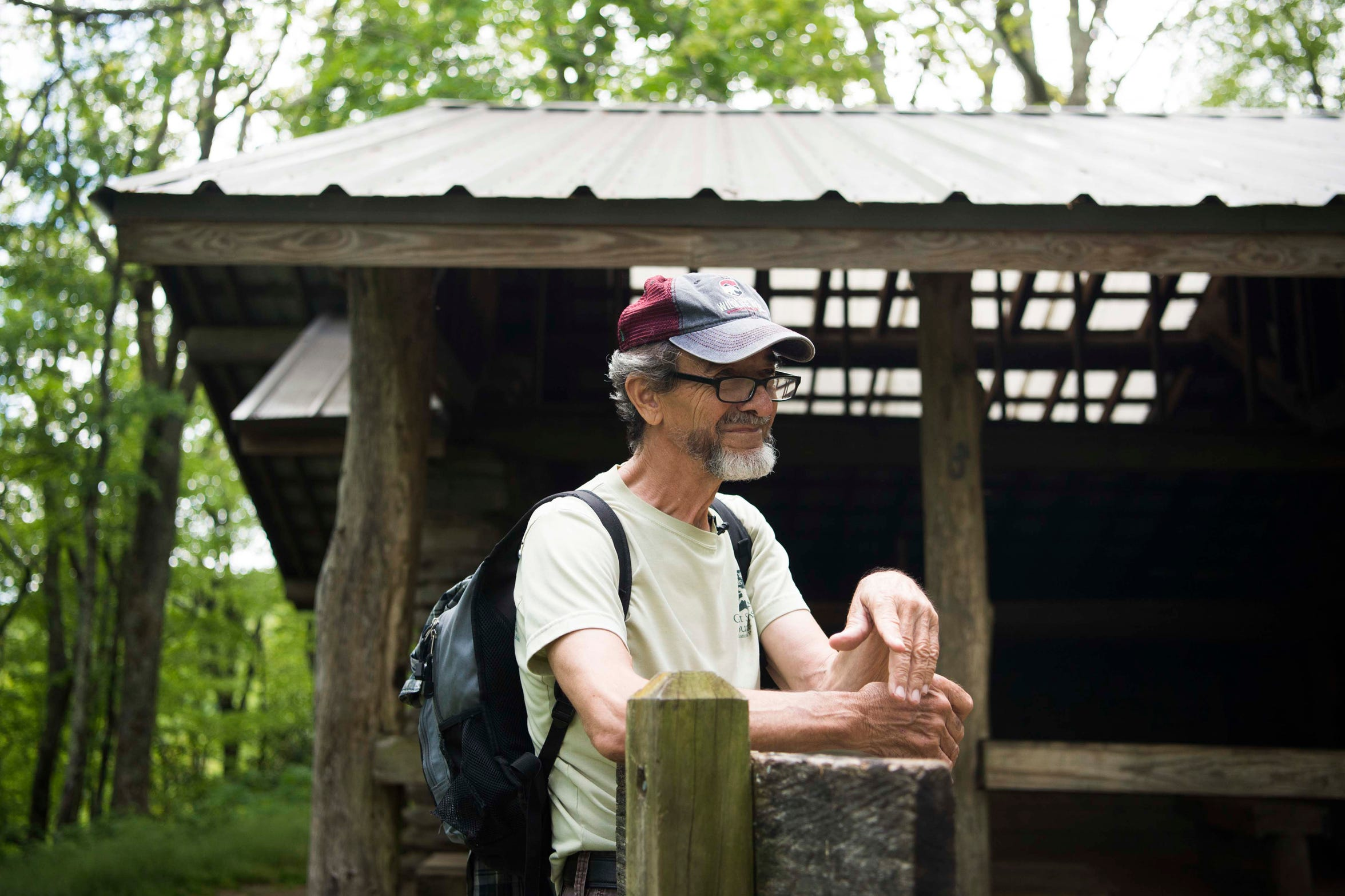 Dwight McCarter, a tracker and retired parks ranger, stands in front of the shelter where Dennis Martin's family stayed, in Spence Field, as the 6-year-old boy vanished from sight and was never found on June 14, 1969, in the Great Smoky Mountains National Park. The search for the Knoxville boy is still the most massive in the park's history.