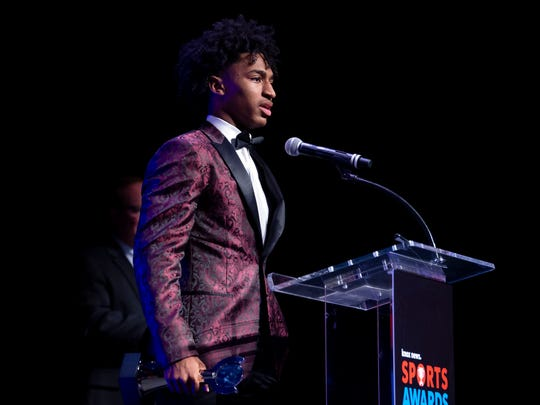Ques Glover of Bearden High School is the Boys Basketball Player of the Year at the 2019 Knox News Sports Awards at the Tennessee Theatre in Knoxville, Tennessee on Wednesday, May 29, 2019.