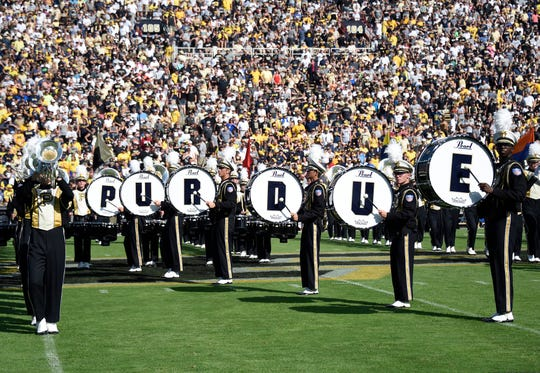 Purdue Band prior to the game between the Michigan Wolverines and the Boilermakers at Ross-Ade Stadium in 2017
