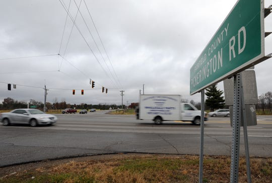 Traffic runs through the intersection of Pickerington Road and U.S. 33 in this Eagle-Gazette file photo.The intersection is one of the few stop lights left on U.S. 33 in Fairfield County and has been the scene of 137 crashes over the past five years, county officials say. The Ohio Department of Transportation plans to conduct a preliminary study to convert the intersection into an interchange.