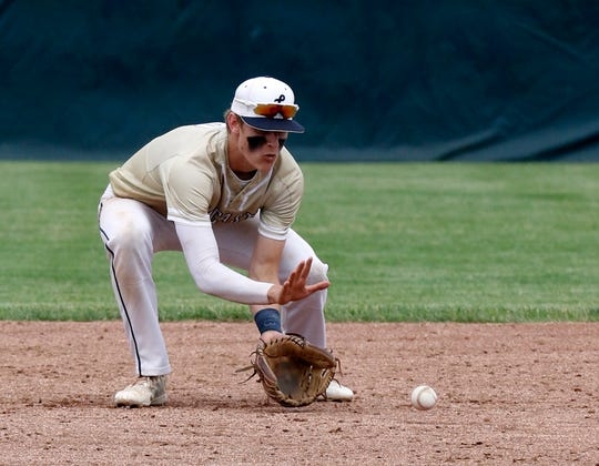 Lancaster's Evan Sines fields the ball during one of the Golden Gales tournament games a year ago. As a junior, Sines earned first team All-Ohio Capital Conference-Ohio Division, first team All-Central District and first team Division I All-Ohio honors.