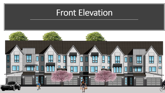 Eight attached townhouses are to be built on the Mill Pond on First Street, as shown in an architectural rendering presented to City of Brighton planners by engineers with Diffin-Umlor and Associates.