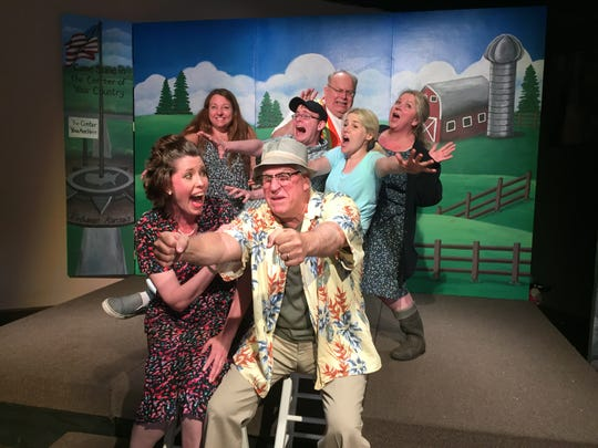 "New professional theater founder Lynn Wilde (back left), goofs off before a dress rehearsal of comic play ""Leaving Iowa"" with cast members Angie Dill, Tony Amato, Sean Heslip, Katie Kujala-Kronin, Nick Szczerba and Dana Blaszkowski at the Brighton Coffeehouse and Theater, Wednesday, May 29, 2019."