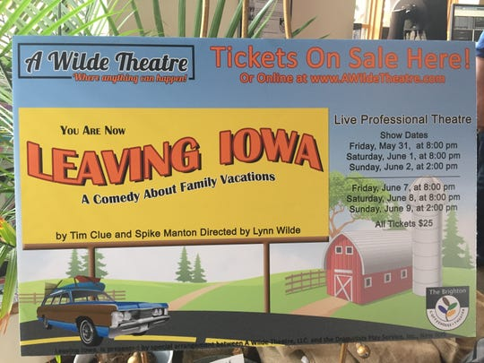 "A poster for A Wilde Theatre's production of comedy ""Leaving Iowa"" is on display in the Brighton Coffeehouse and Theater, Wednesday, May 29, 2019."