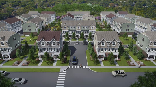 An architectural rendering shows what 85 townhouses that will be built in Brighton will look like.