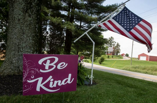 Be Kind signs welcome visitors to the town of West Louisville, Kentucky on Highway 56 near Owensboro. May 23, 2019.