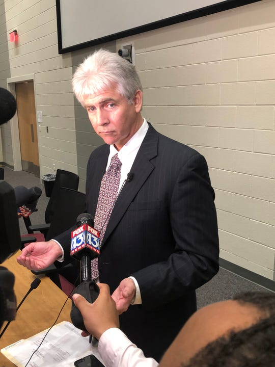 Gary Lilly speaks with reporters Thursday evening after being named superintendent of Collierville Schools.