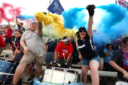 The Bluff City Mafia celebrate the Memphis 901 FC as they take on Hartford Athletic in the U.S. Open Cup at the Mike Rose Soccer Complex on Wednesday.