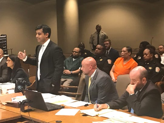 Defense attorney Juni Ganguli pleads his case in a motion to suppress wiretap information in the Lorenzen Wright murder trial. Ganguli represents  Sherra Wright, who along with Billy Ray Turner is charged with first-degree murder in her ex-husband's death.