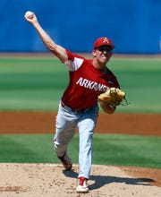Arkansas pitcher Connor Noland throws during the first inning of an SEC tournament game against Ole Miss on May 24 in Hoover, Ala.