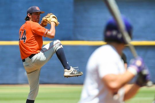 Auburn's Jack Owen (44) pitches against LSU during the SEC Tournament on Thursday, May 23, 2019, in Hoover, Ala.